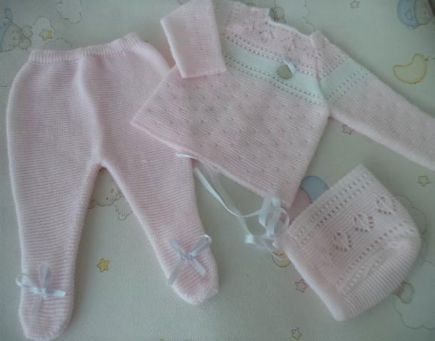conjunto rosa/blanco invierno