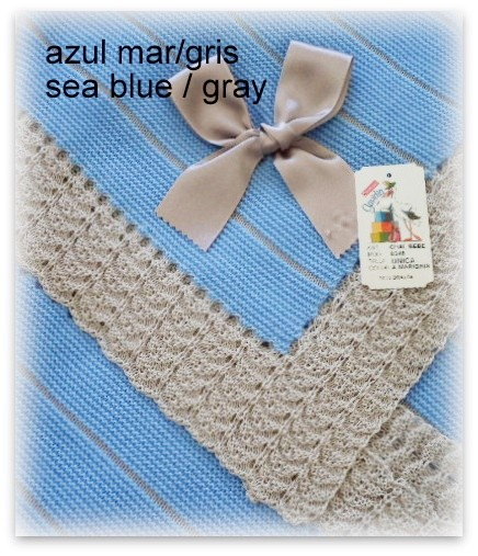 Toquilla bebe azul mar/gris