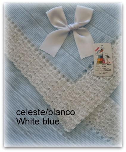 Toquilla bebe azul/blanco