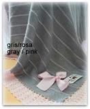 Toquilla bebe gris/ rosa