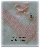Toquilla bebe blanco/rosa
