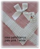Toquilla bebe rosa palo/blanco