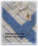 Toquilla bebe blanco/ azul mar